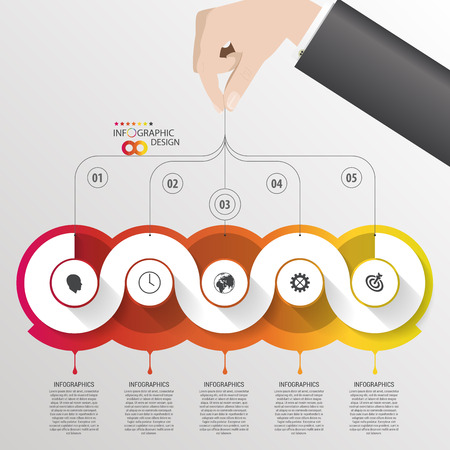 Infographic design template with hand. Piece on the grey background. Vector illustration