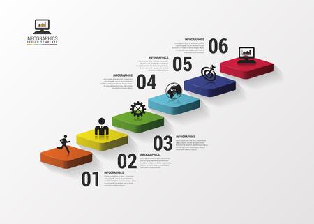 Résumé escaliers 3d infographie ou modèle chronologie. Vector illustration