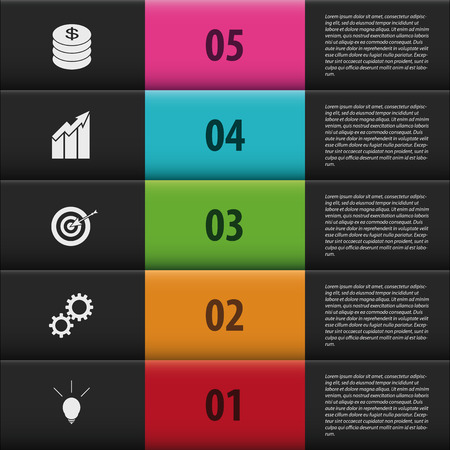 step up: Infographic step up numbered options. black stairs