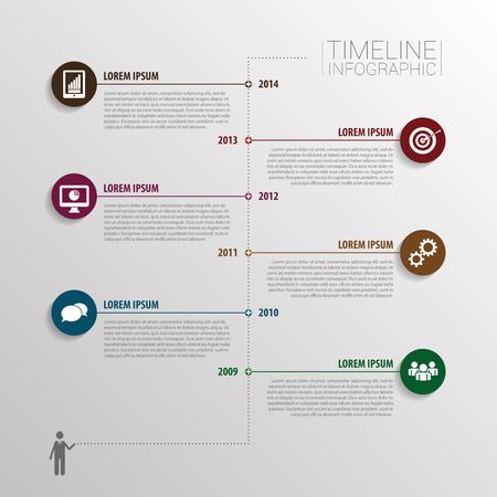 Timeline infographic with elements and icons. Vector