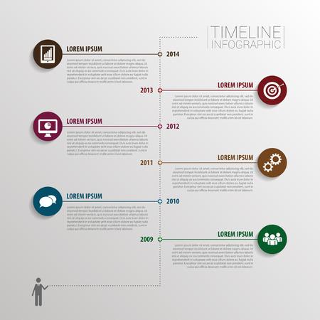 Timeline infografica con elementi e icone. Vettore Archivio Fotografico - 45339791