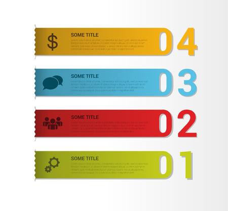 bookmarks: Set of bookmarks, labels, tags. Numbered banners. Vector