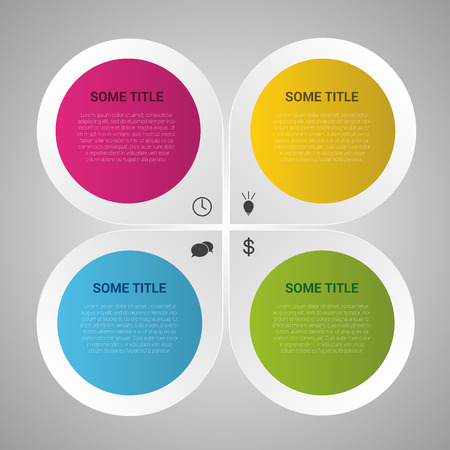 three colored: Infographic design circles on the grey background