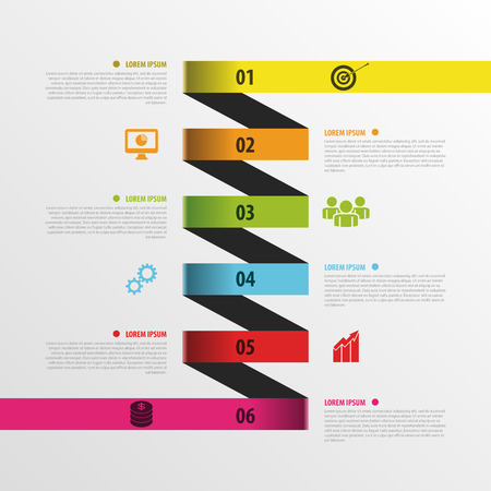 business template: Infographic spiral business template with paper tags