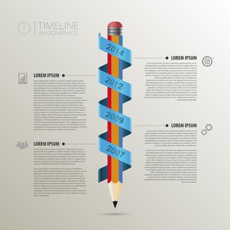 鉛筆を持つタイムライン インフォ グラフィック ビジネス テンプレート。ベクトル  イラスト・ベクター素材
