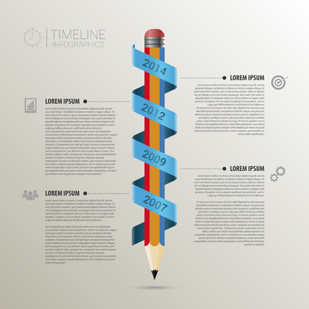 Timeline infographic business template with pencil. vector