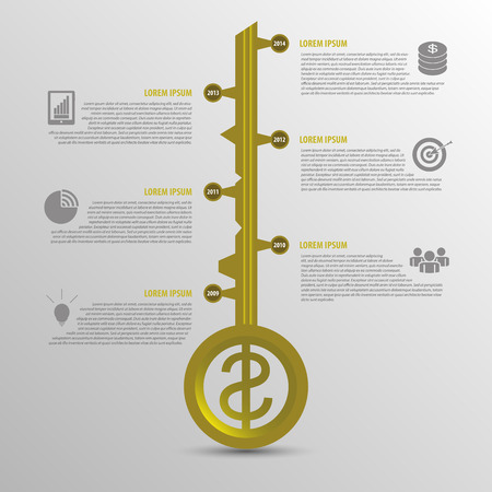 secret number: Infographic timeline. Business key concept template. Gold vector