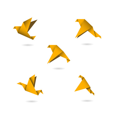 flying birds: origami orange birds icons set vector illustration