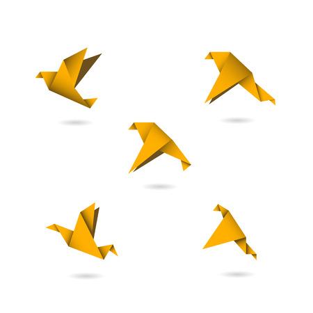 palomas volando: origami pájaros anaranjados iconos conjunto ilustración vectorial Vectores