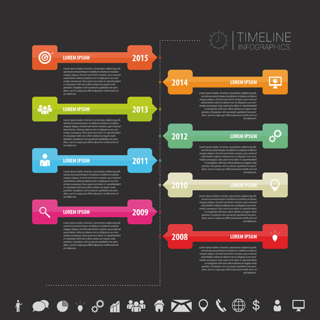 infomation: Timeline infographic template. Vector with icons