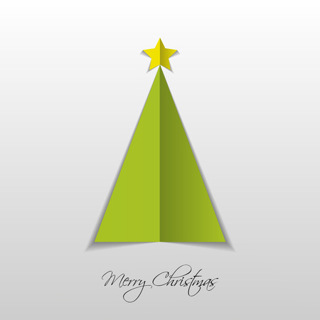 green paper: Green paper Christmas tree. Vector
