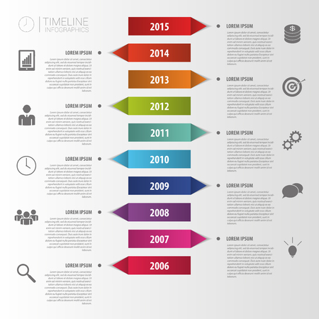 information management: Flat colorful abstract timeline infographics vector