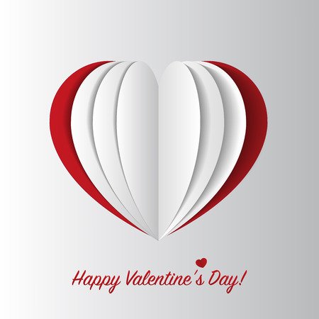 paper heart: Happy Valentines Day card. Paper heart. Vector