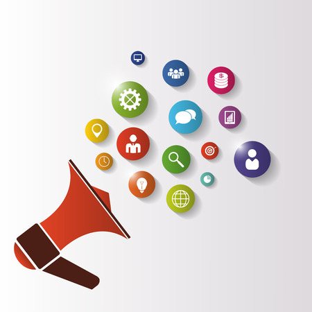 time sharing: Megaphone. Illustration of business icons. Vector Illustration