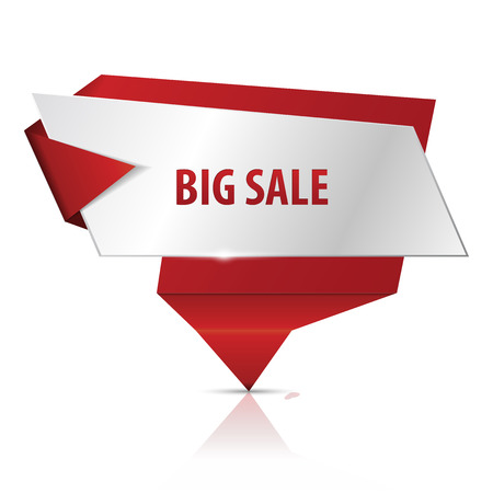 origami banner: Big sale. Red glossy origami banner VECTOR