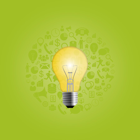 Creative light bulb with icons. Vector
