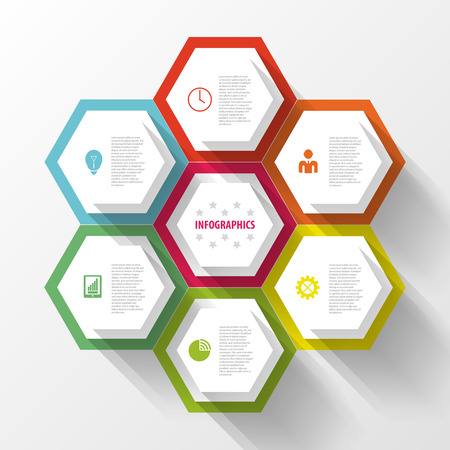 Colorful infographic with honeycomb structure. Vector Zdjęcie Seryjne - 45342999