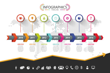 infomation: Timeline infographic design. Vector with icons