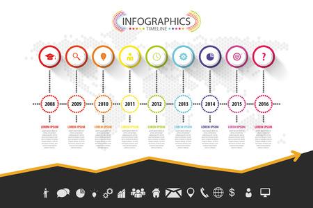 タイムラインのインフォ グラフィック デザイン。ベクトルのアイコン