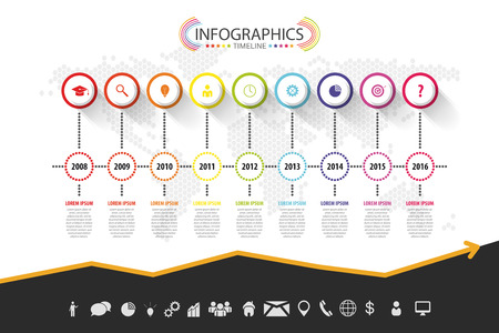 Design infografica Timeline. Vettoriale con icone Archivio Fotografico - 45343005