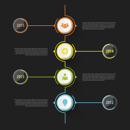 time to work: Colorful abstract timeline infographics. Vector illustration