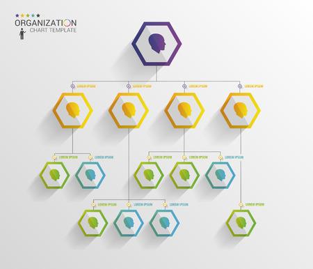 Modern organization chart template. Vector Vettoriali