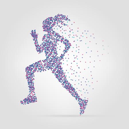 start to cross: Running girl from circles. Vector illustration. Modern