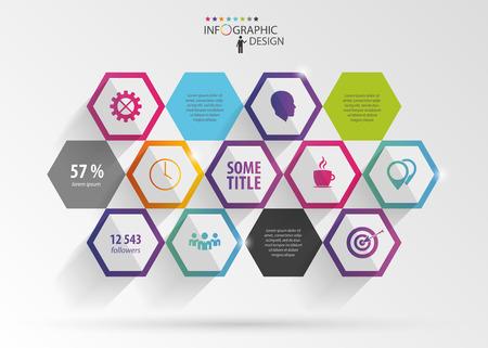 Abstract modern hexagonal infographic. 3d digital illustration Imagens - 45343096