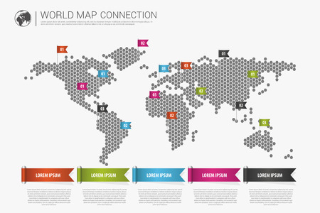 Colorful modern infographic world map connection concept. Vector Vettoriali