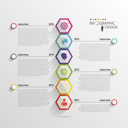 Infografica di esagono astratta. modello Timeline. Vettore Archivio Fotografico - 45343267