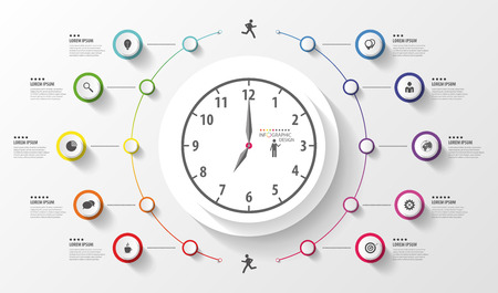 インフォ グラフィック。ビジネス時計。アイコンのカラフルなサークル。ベクトル