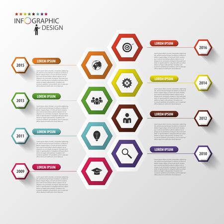 growth chart: Timeline infographics. Hexagonal design template. Vector