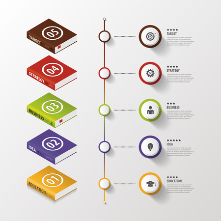 information design: Infographic. Business Books. Colorful circle with icons. Vector Illustration
