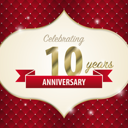 ten best: Celebrating 10 years anniversary. golden style. Vector