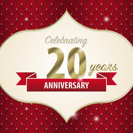 sheild: Celebrating 20 years anniversary. golden style. Vector