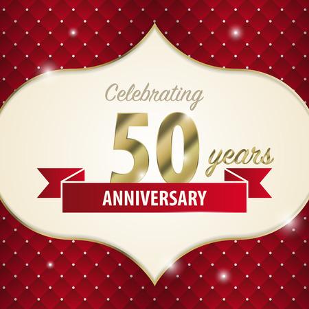 50 years anniversary: Celebrating 50 years anniversary. golden style. Vector
