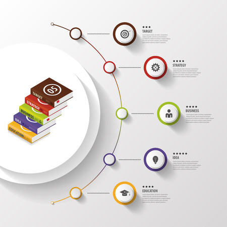 Infographic. Business Books. Colorful circle with icons. Vector Vettoriali