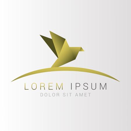 Origami bird logo. Abstract. Vector illustration