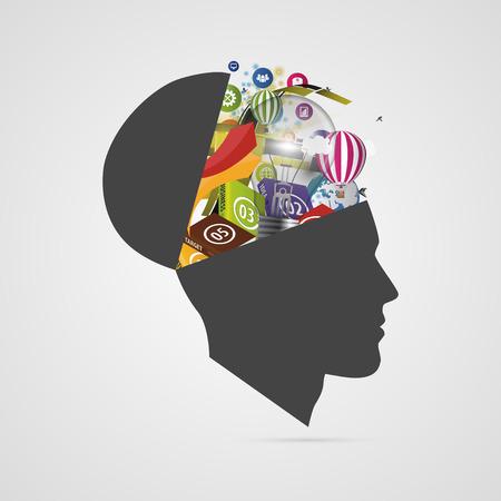 抽象的な創造的なオープン ヘッド。天才の心。ベクトル