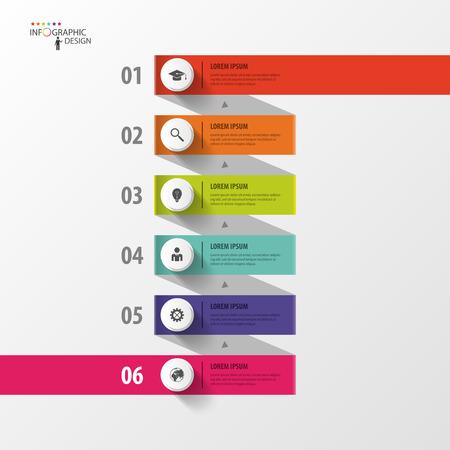 espiral: Plantilla de negocio espiral Infografía con etiquetas de papel. Vector