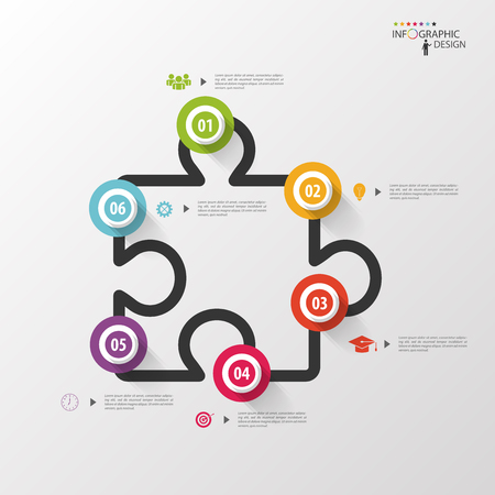 Infographics jigsaw. Vector design template Çizim