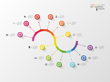 インフォ グラフィック タイムライン スパイラル ビジネス テンプレート。ベクトル  イラスト・ベクター素材
