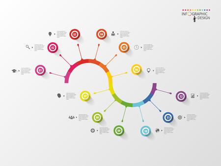 espiral: Línea de tiempo Infografía espiral del modelo del asunto. Vector Vectores