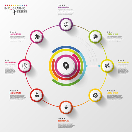 flow diagram: Infographic. Business concept. Colorful circle with icons. Vector