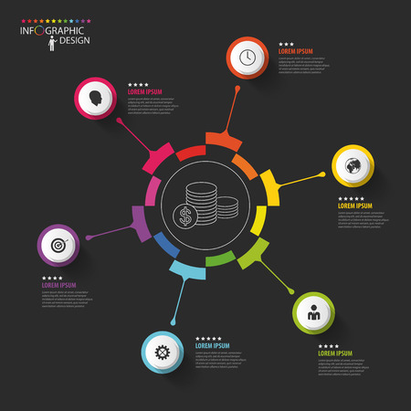 Infographic business template. Colorful circle with icons. Vector