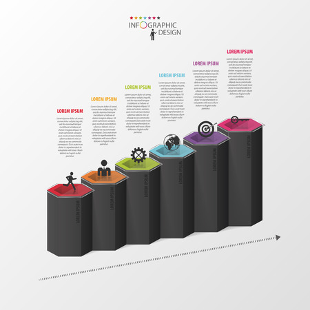 Infographic business template. Hexagons in 3d. Vector