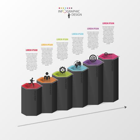 Modèle d'affaires infographique. Hexagones en 3D. Vecteur Banque d'images - 45344182
