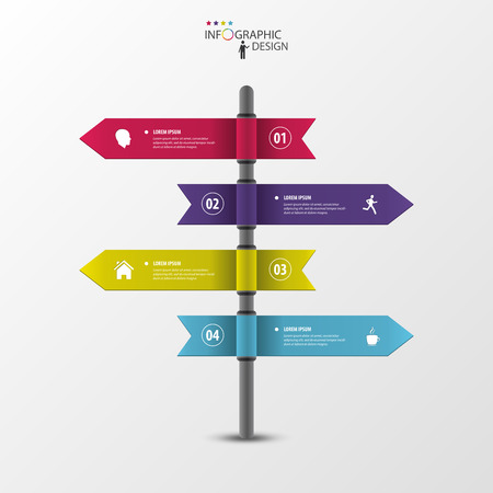 multidirectional: Infographic template of multidirectional pointers on a signpost Illustration