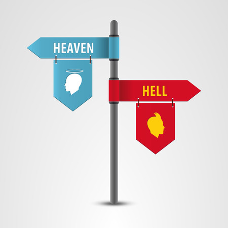 indicator board: Pointers on a signpost. Heaven or hell. Vector