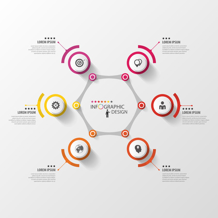 Abstract hexagon infographic design template with circles